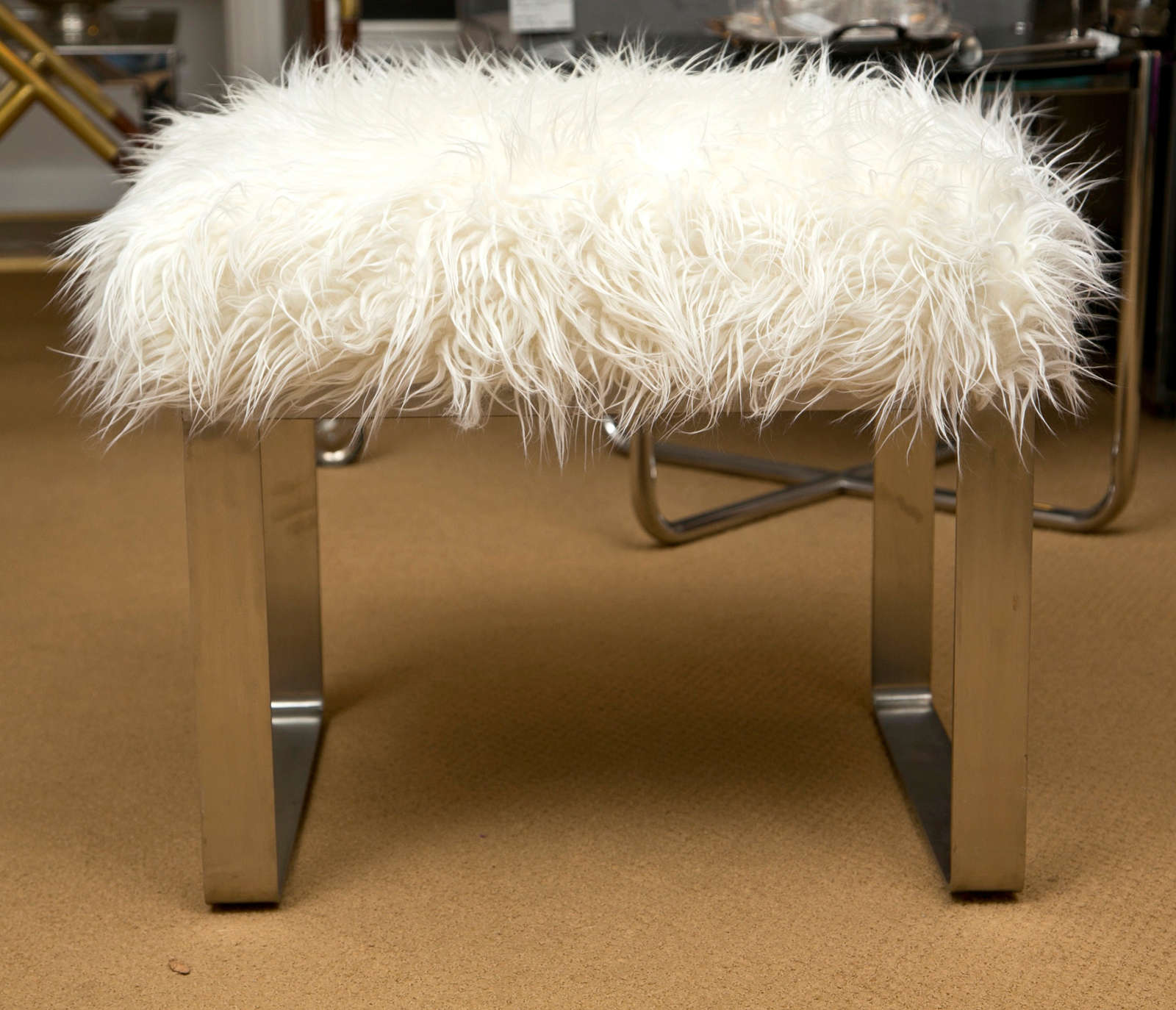 White Fluffy Bench Seat
