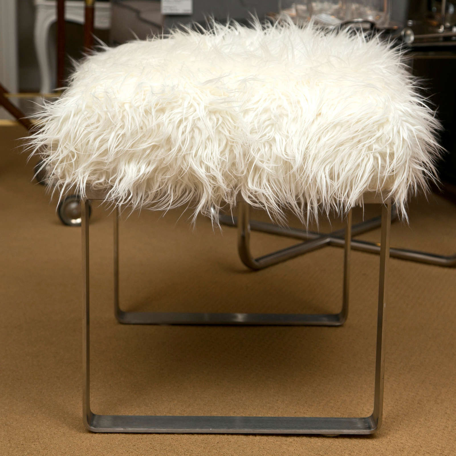 Mongolian Lamb Vanity Stools In Excellent Condition For Sale In Bridgeport, CT