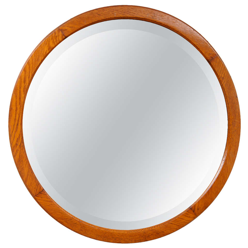 American oak round mirror with beveled glass at 1stdibs for Beveled glass mirror