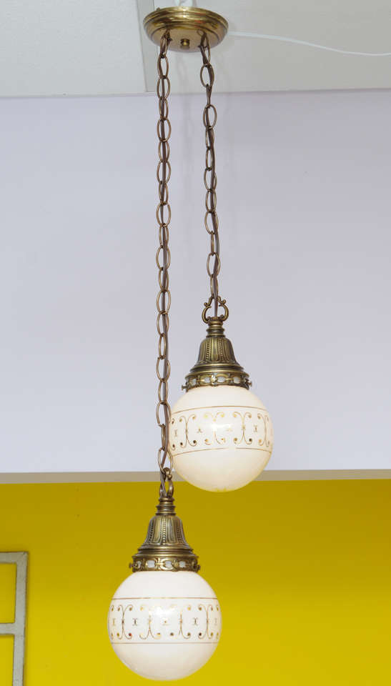 """Globes are 6"""" glass only metal work is 5.5"""" chain is 24 and 15"""".  Hand-painted in gilt intricate metal work. Graceful and elegant. please check our vintage lighting collection,we have several similair french pendants available"""
