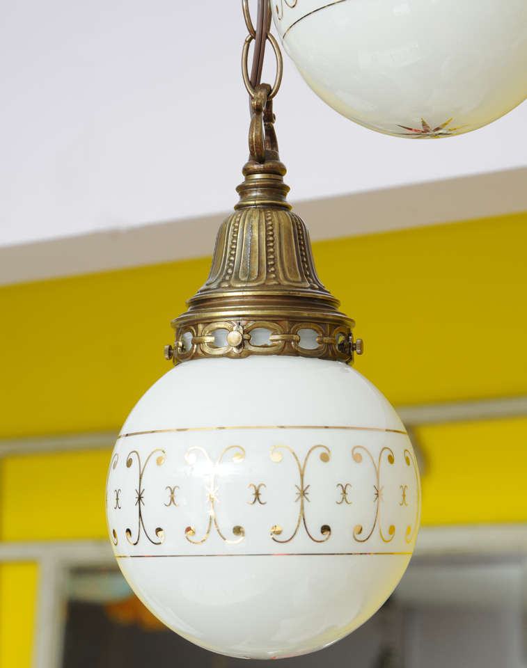 Hand-Painted Ceiling Double Pendants, French, Restored For Sale 2