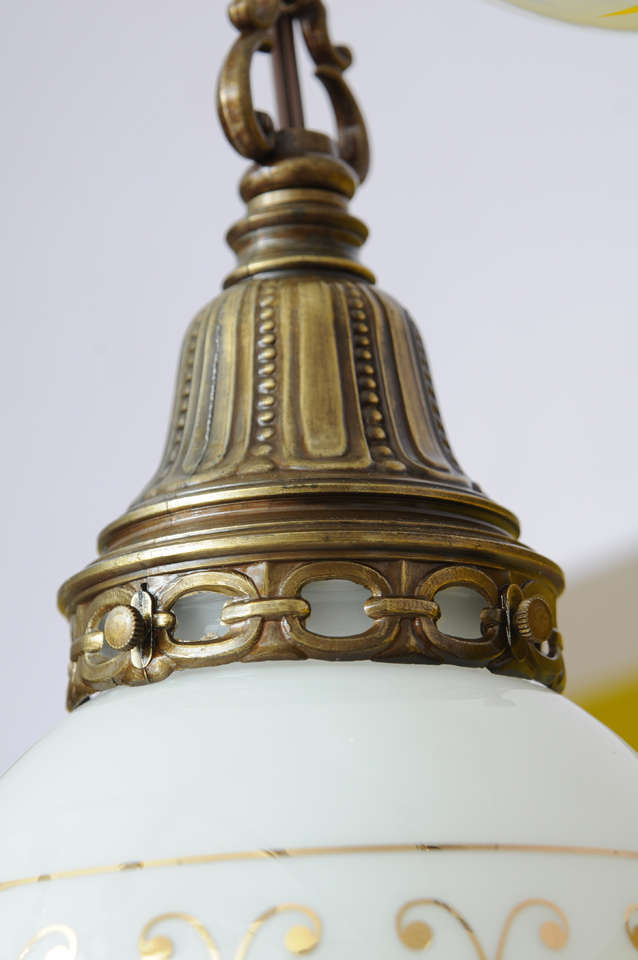 Hand-Painted Ceiling Double Pendants, French, Restored For Sale 3