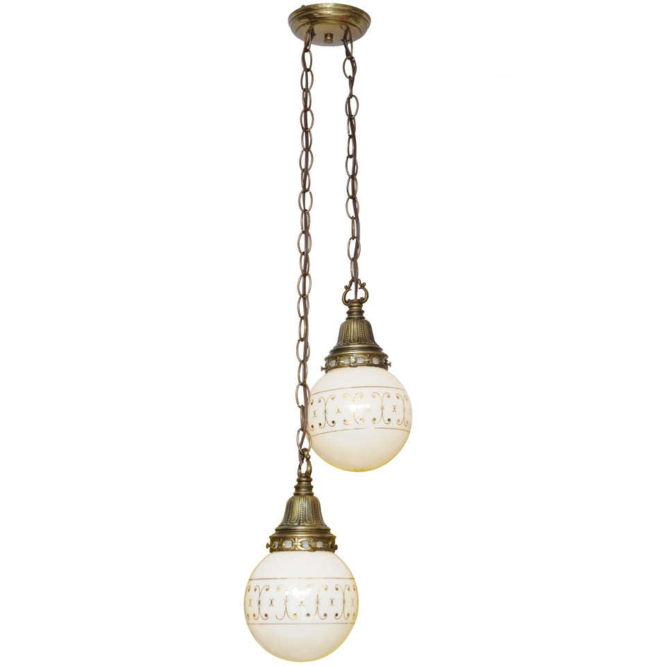 Hand-Painted Ceiling Double Pendants, French, Restored For Sale