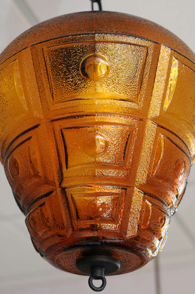 """SATURDAY MOVING SALE,AMBER CEILING PENDANT,LARGE,RESTORED,modernism,chain 14"""" In Excellent Condition For Sale In Miami, Miami Design District, FL"""