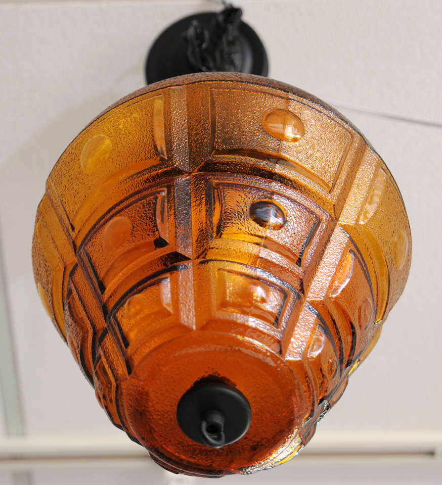 """Late 20th Century SATURDAY MOVING SALE,AMBER CEILING PENDANT,LARGE,RESTORED,modernism,chain 14"""" For Sale"""
