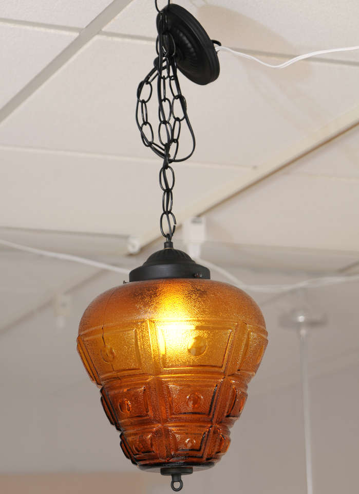 """SATURDAY MOVING SALE,AMBER CEILING PENDANT,LARGE,RESTORED,modernism,chain 14"""" For Sale 2"""