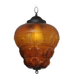 SATURDAY MOVING SALE,AMBER CEILING PENDANT,LARGE,RESTORED,modernism,chain 14""