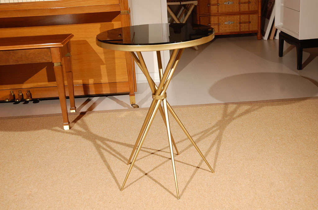 Brass and Black Glass Hollywood Regency Side Table 3