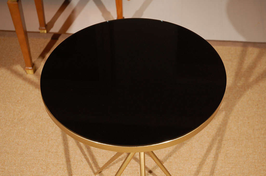 Brass and Black Glass Hollywood Regency Side Table 4