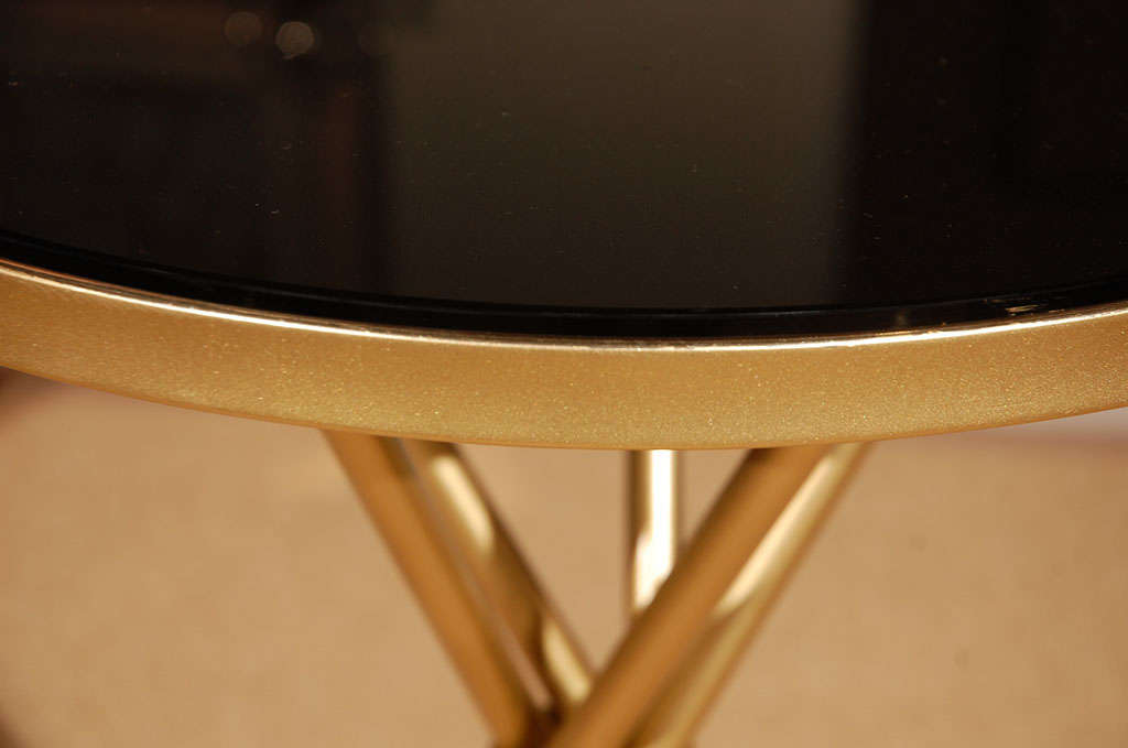 Brass and Black Glass Hollywood Regency Side Table 5