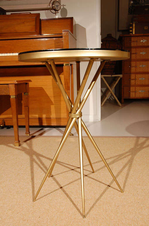 Brass and Black Glass Hollywood Regency Side Table 7