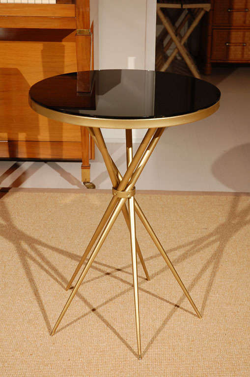 Brass and Black Glass Hollywood Regency Side Table 2