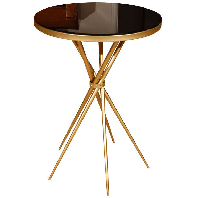 Brass and Black Glass Hollywood Regency Side Table 1