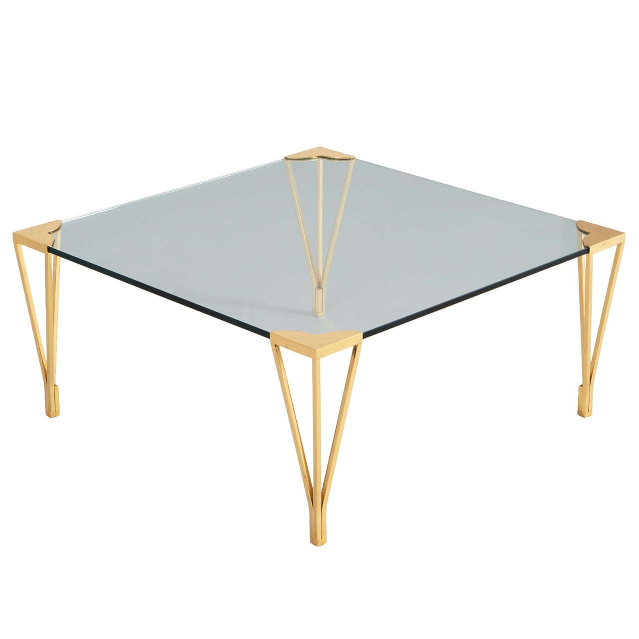 Elegant Coffee Table With Brass Legs 1970s At 1stdibs