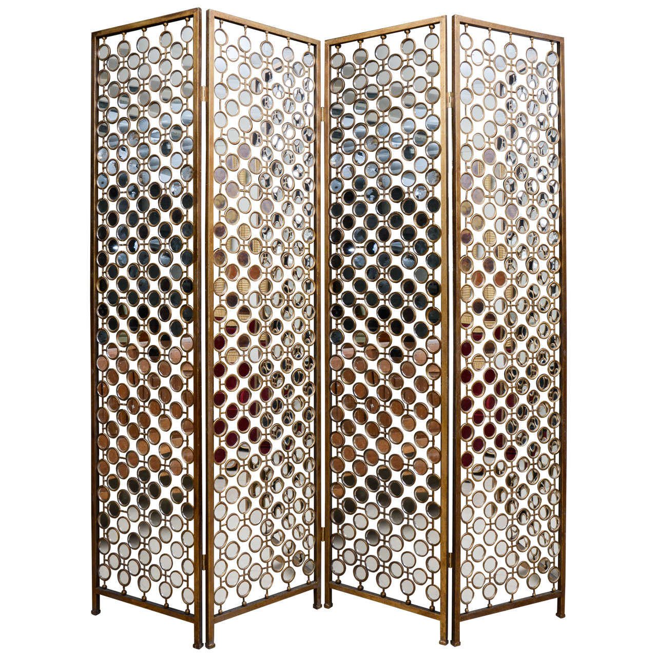 mirrored and metal divider screen at stdibs - mirrored and metal divider screen