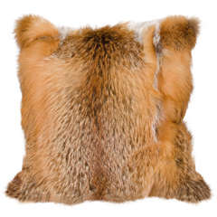 Custom Red Fox Pillow with Camel Cashmere Backing