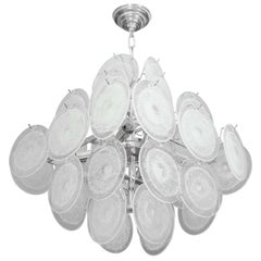 Small Clear Bubble Murano Glass Disc Chandelier in Double Pyramid Shape
