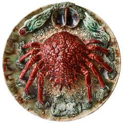 Crab Palissy Majolica Plate, circa 1860