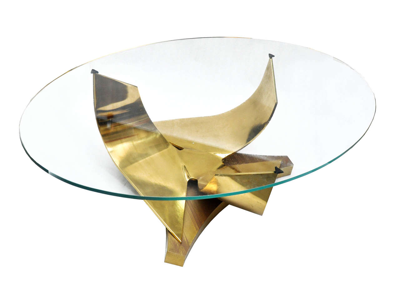 Round coffee table with bronze base and oval glass top by - Table base for round glass top ...
