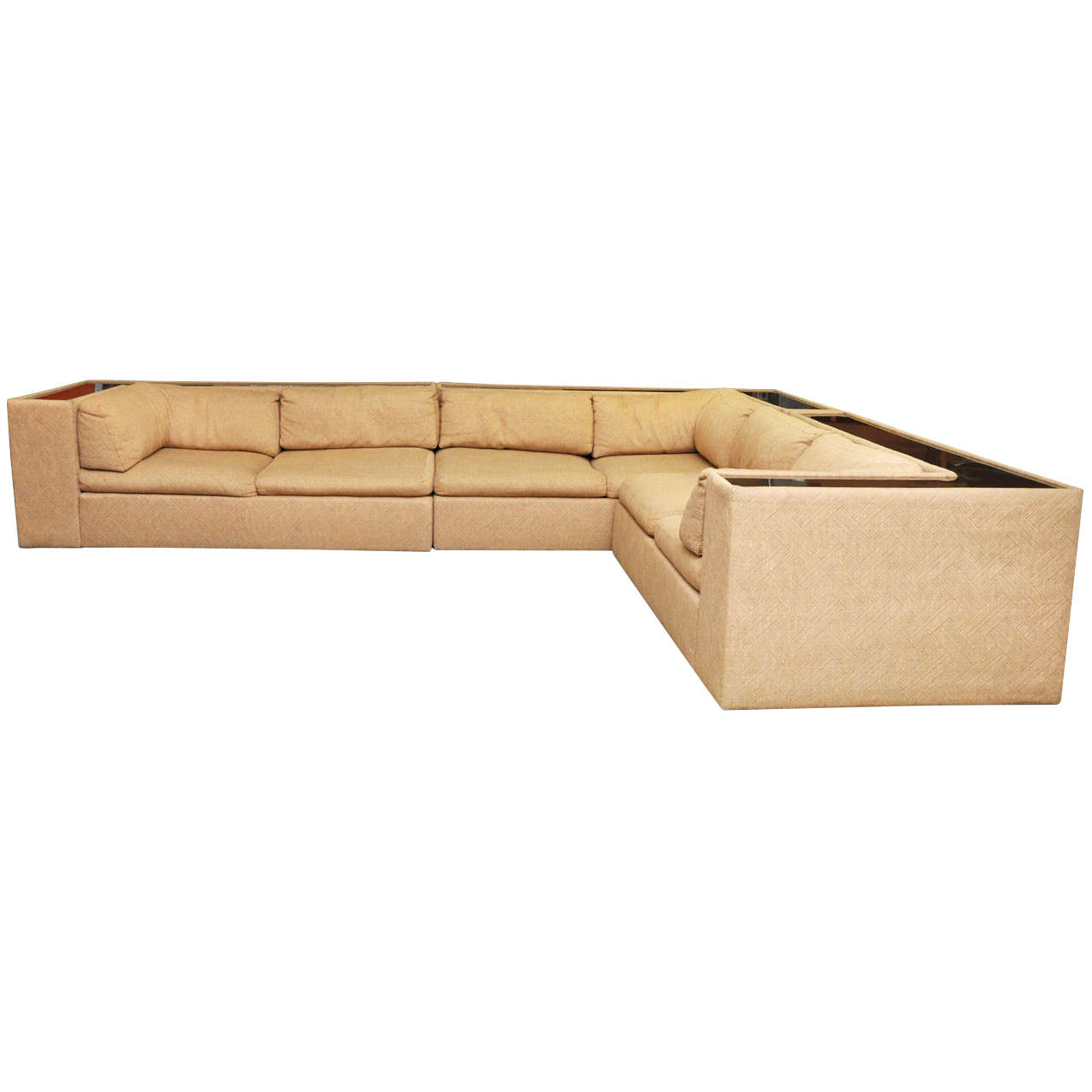 Four-Piece Milo Baughman Sectional Sofa in Original Upholstery For Sale