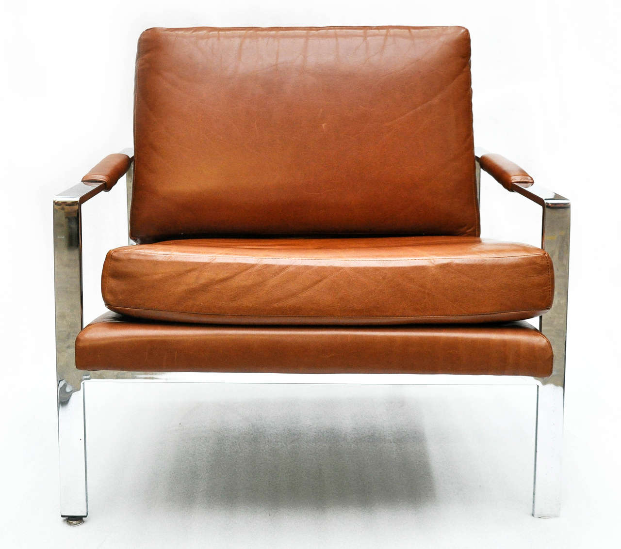 American Milo Baughman Leather And Chrome Chair For