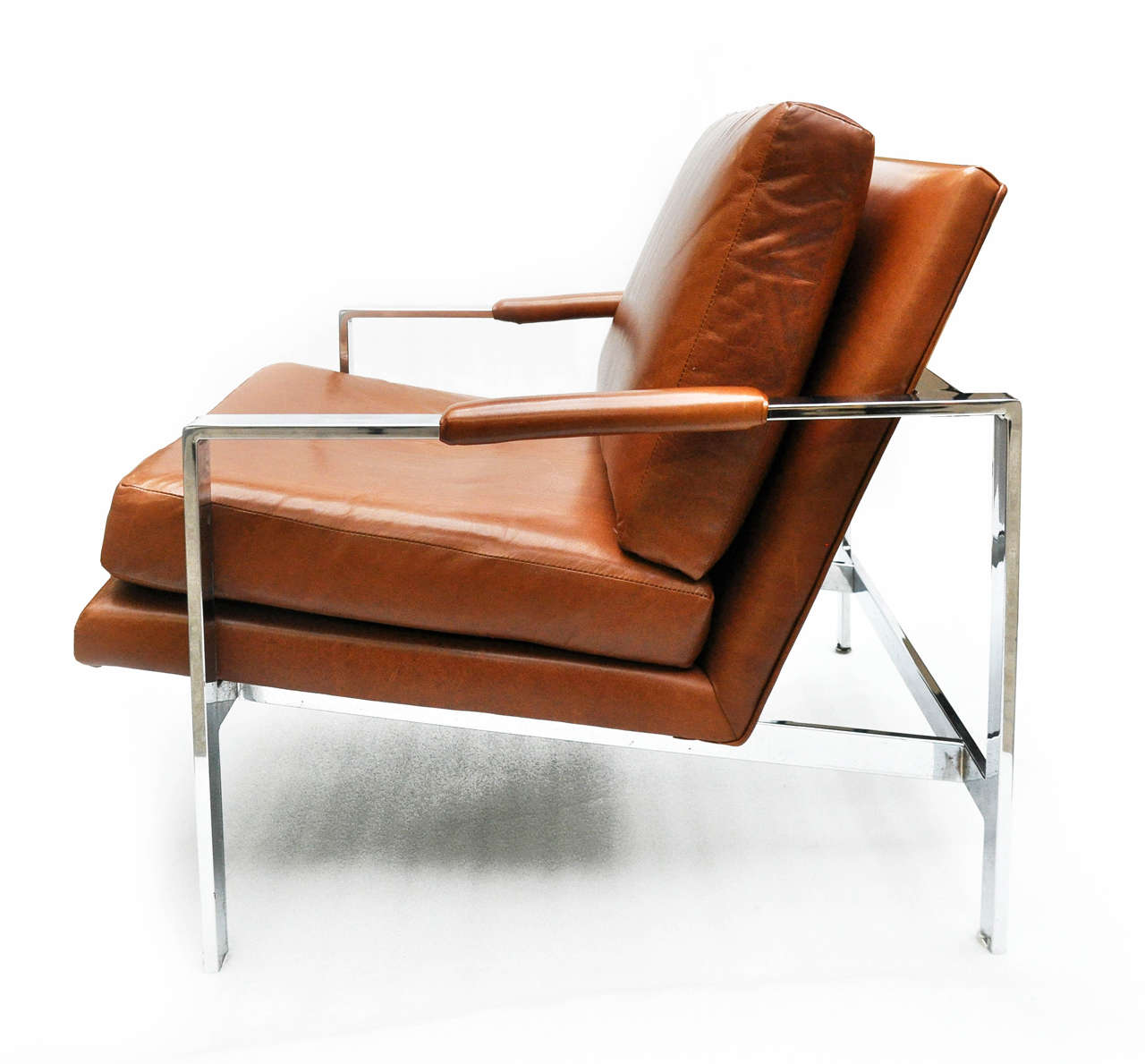 Milo Baughman Leather and Chrome Chair For Sale 2