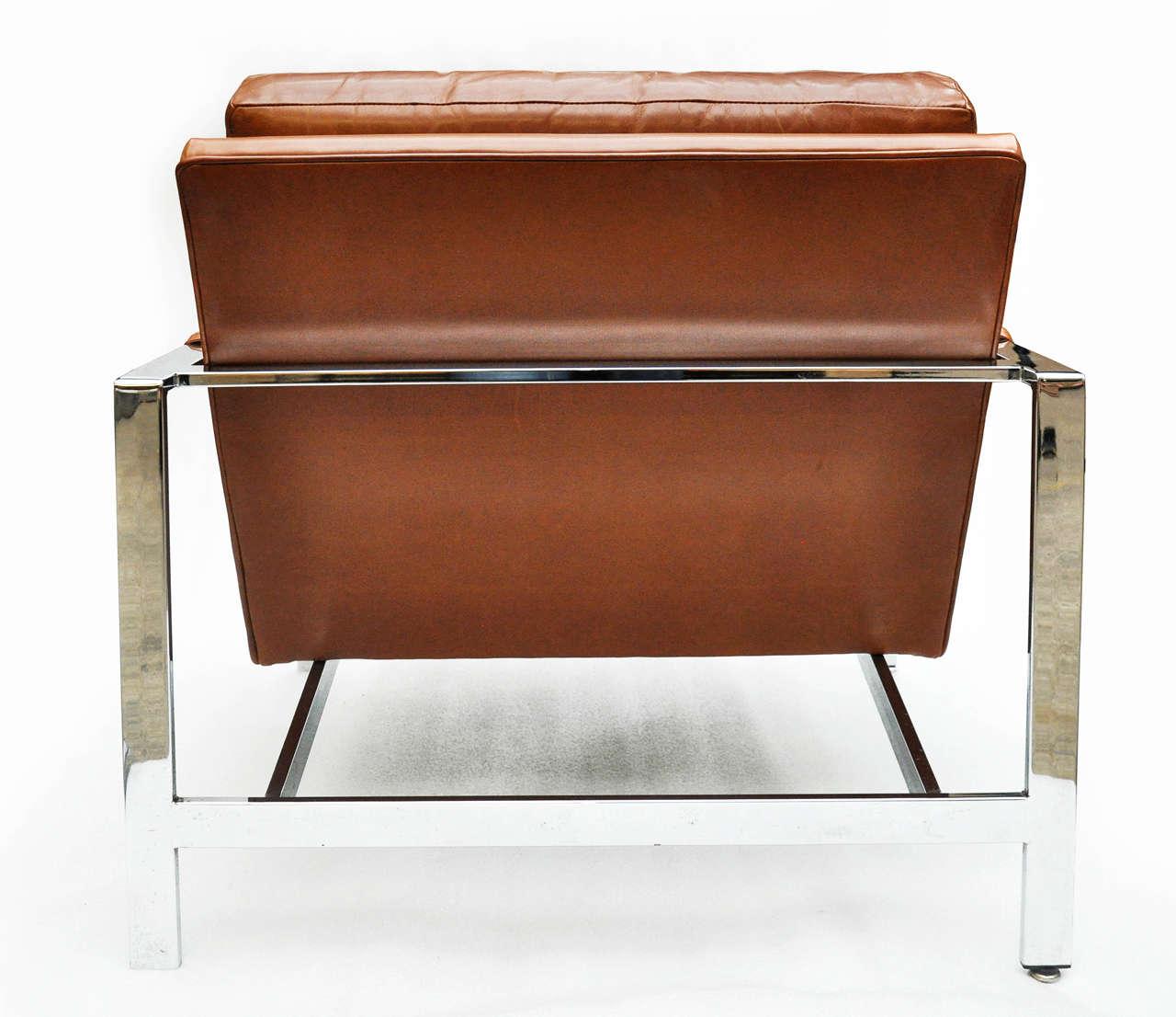 Milo Baughman Leather and Chrome Chair For Sale 3