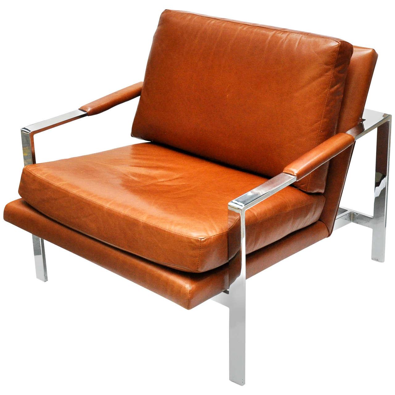 Milo Baughman Leather and Chrome Chair For Sale