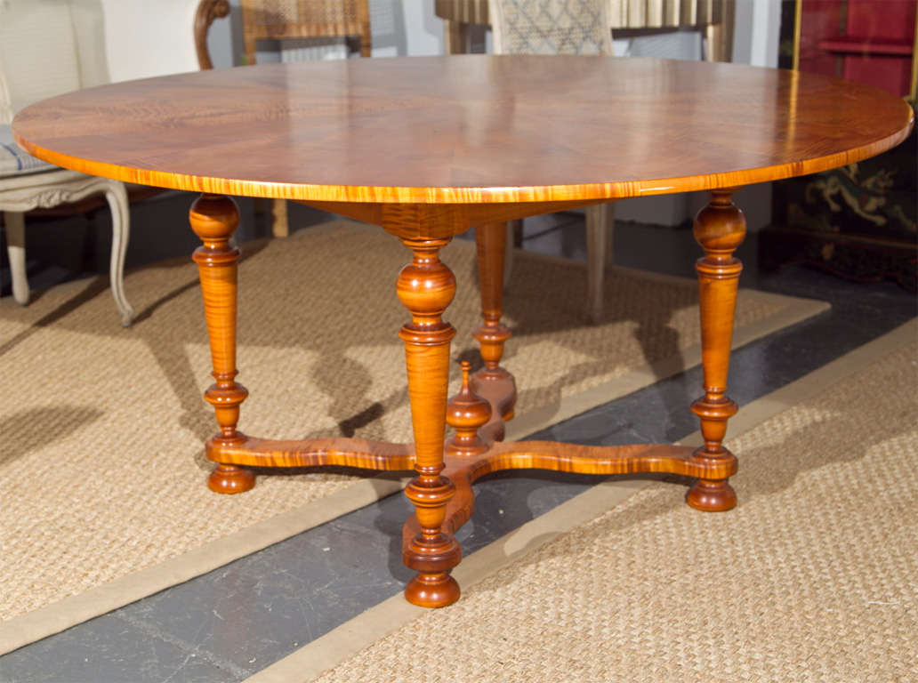 dining table tiger maple round dining table. Black Bedroom Furniture Sets. Home Design Ideas