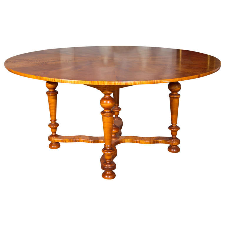 Dining Table Tiger Maple Round Dining Table