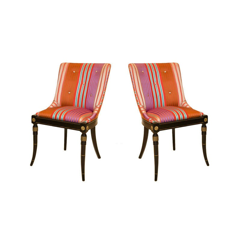 Pair of Silk Upholstered Hollywood Regency Side Chairs. For Sale