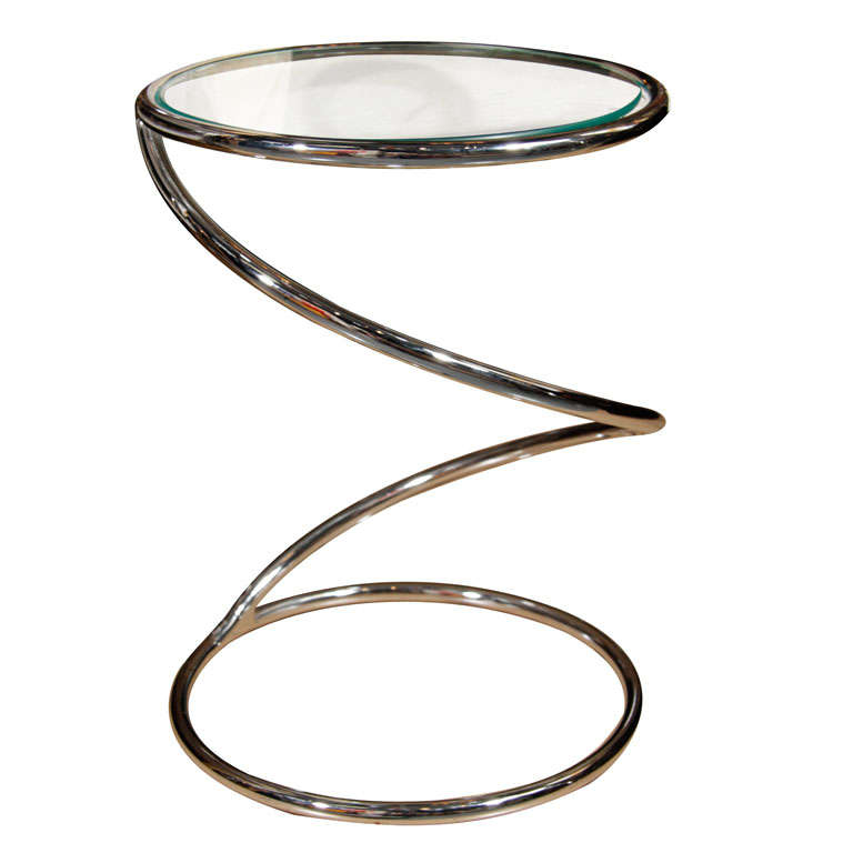 Chrome Swirl drink table by Pace (2 Available)