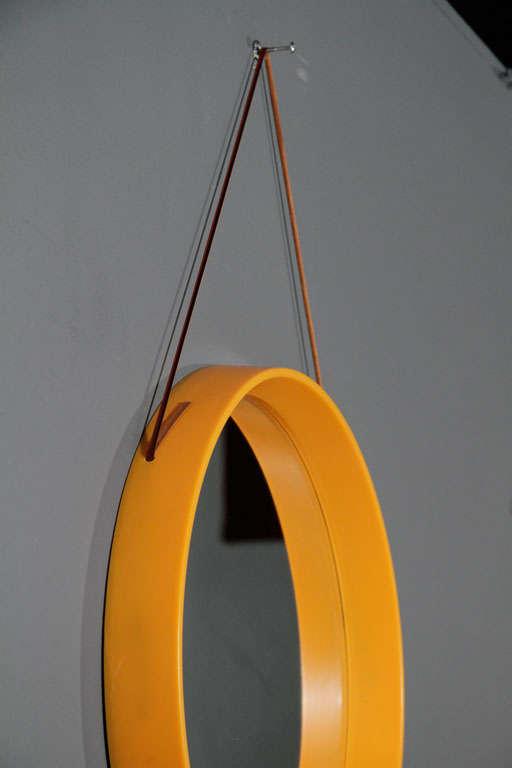 Yellow Orange Danish Round Mirror With Leather Cord At 1stdibs