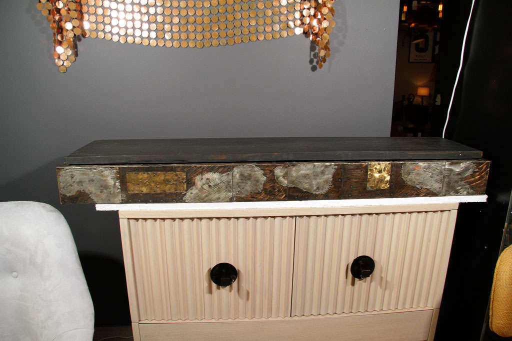 A Patchwork Metal Floating Console Shelf By Paul Evans