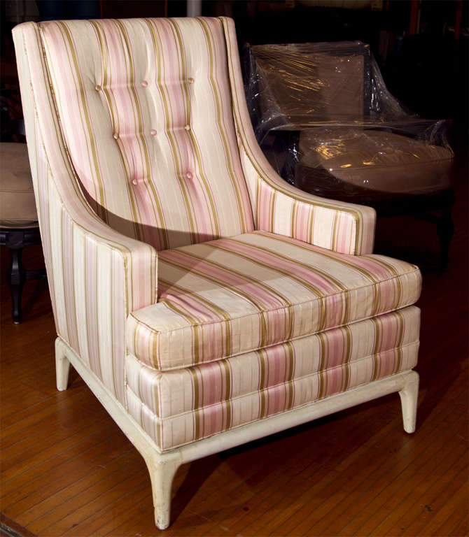 high back upholstered chair with ottoman at 1stdibs. Black Bedroom Furniture Sets. Home Design Ideas