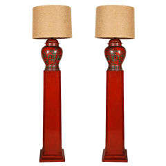 A Pair of Lacquered Floor Lamps designed by Billy Haines