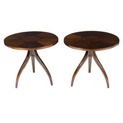 Pair of Inlaid Top Tripod Gueridon Tables by Drexel