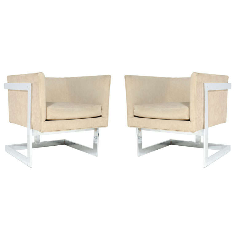 Floating Cube Club Chairs by Milo Baughman for Thayer Coggin