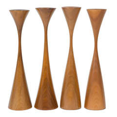Set of Four Turned Walnut Candlesticks by Rude Osolnik