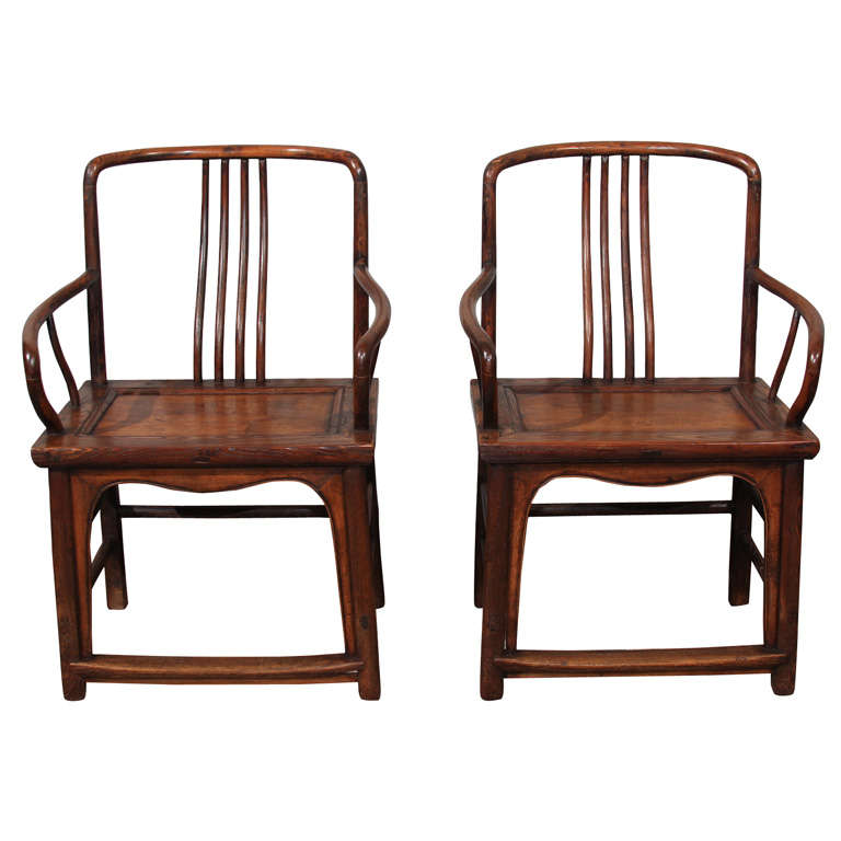 Pair Of Chinese Curved Spindle Back Arm Chairs At 1stdibs
