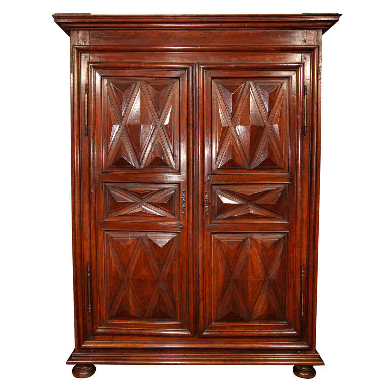 french louis xiv walnut armoire at 1stdibs. Black Bedroom Furniture Sets. Home Design Ideas