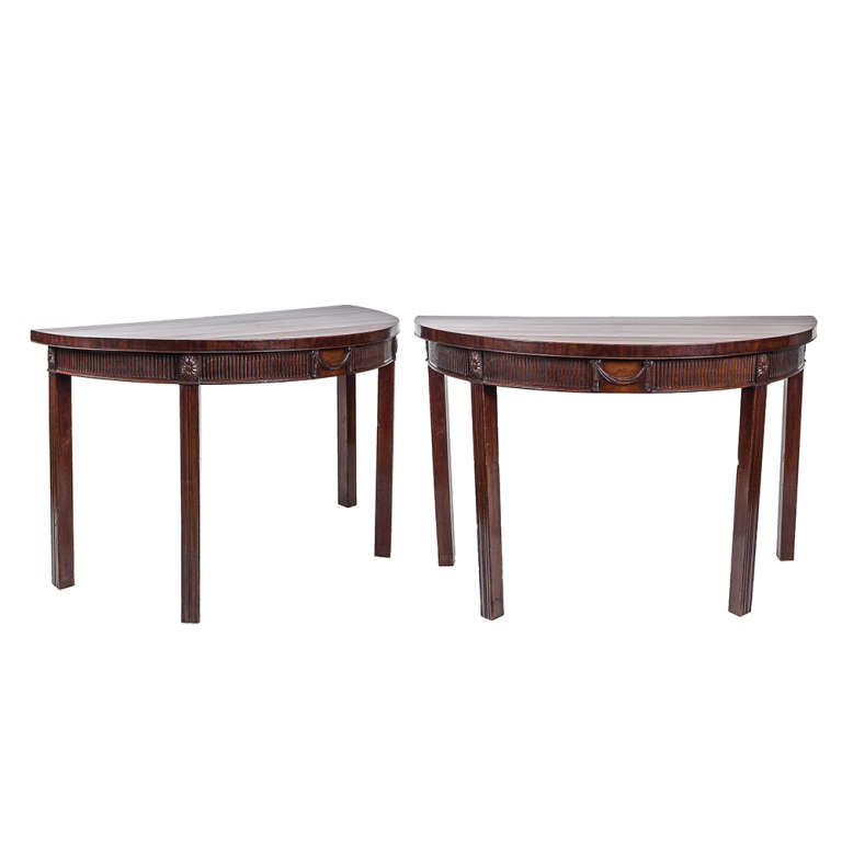 Pair of 19th Century English Mahogany Demilune Tables
