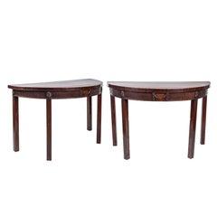 Pair of 19th Century English Mahogany Demilune Tables