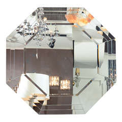 Art Deco Style Octagonal Stepped Mirror with Beveled Borders