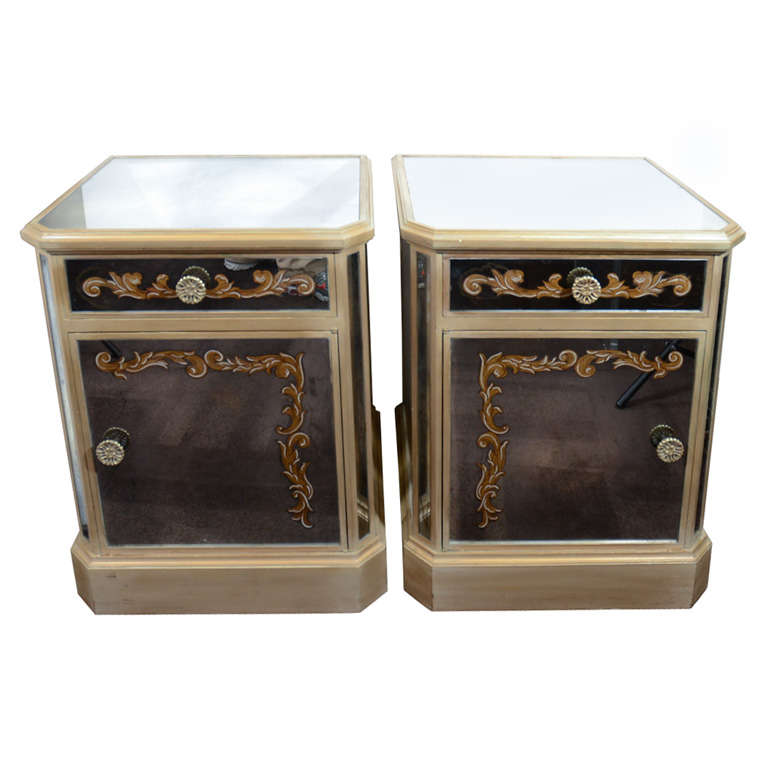 Pair of 1940's Hollywood Mirrored End Tables/Night Stands
