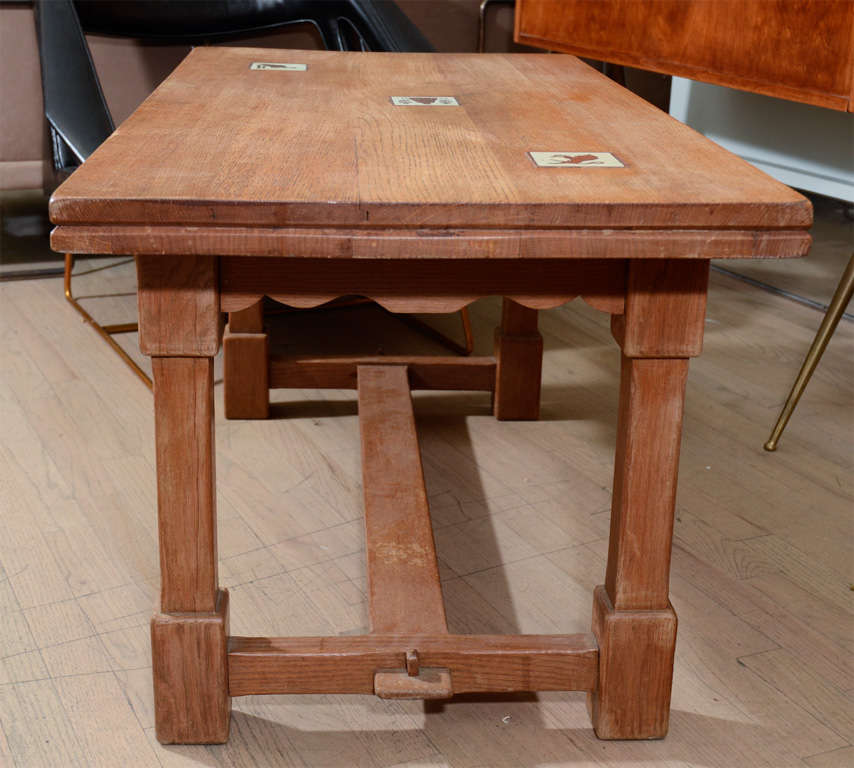 Oak Coffee Table With Ceramic Tiles By Adnet At 1stdibs