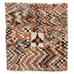 Vintage Abstract Chequerboard Azilal Moroccan Berber Rug