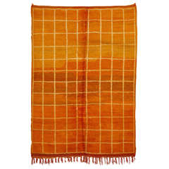 Vintage Orange Middle Atlas Berber Rug with Geometric Pattern
