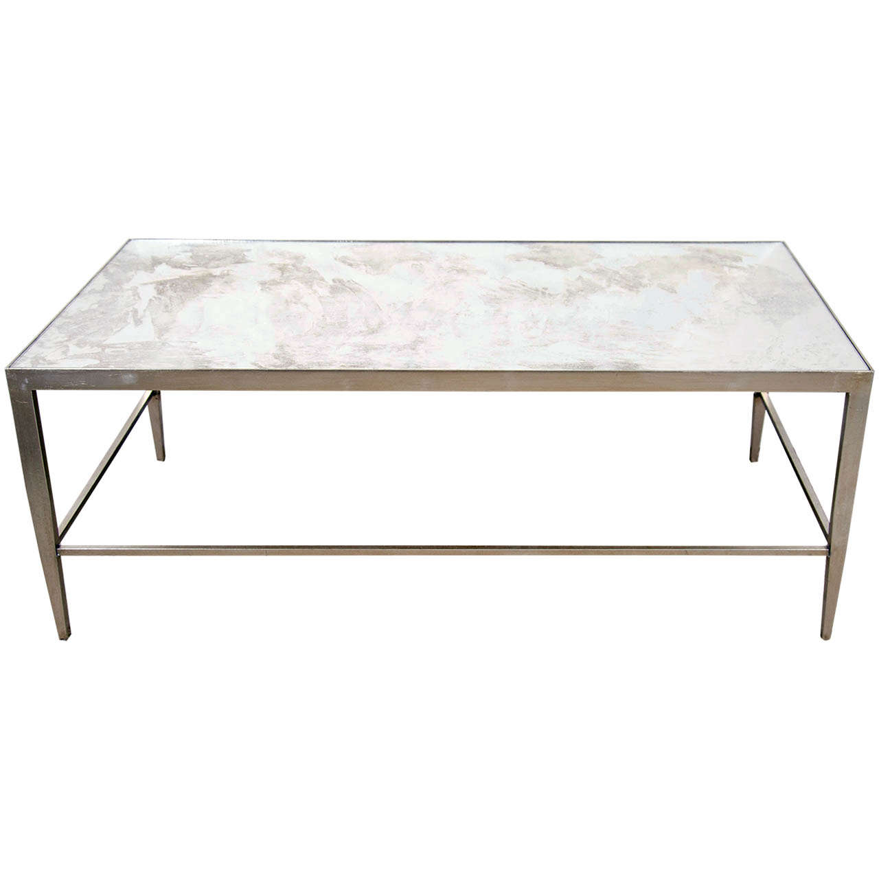 Long Silvered Coffee Table At 1stdibs