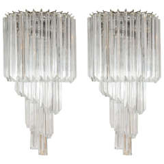 Pair of Venini Crystal Sconces